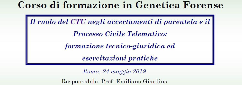 Corso di formazione in Genetica Forense