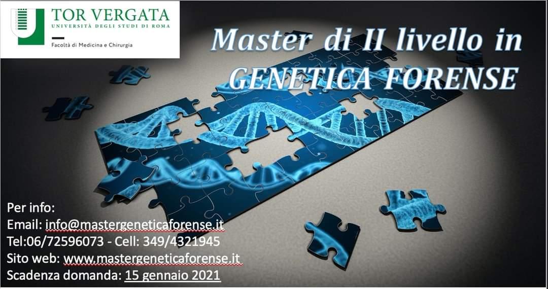 Iscrizioni aperte per il Master di II livello in Genetica Forense anno accademico 2020-2021